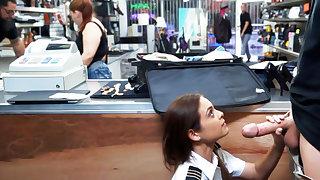 Latina stewardess suck big dick in the air pawnshop