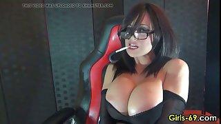 hot girl with big jugs smoking on cam