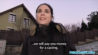 Public Agent Spanish Student fucks for strip cash