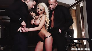 Inked mature blonde whore Barbie Sins fucked and throated by two females
