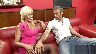 Snowy Inked Blonde Has Her Twat Nailed