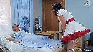 Nasty nurse in a miniskirt Jasmine Jae rides her patient to get well