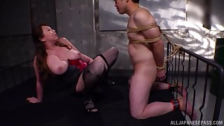 Passionate and big-busted Kazama Yumi takes a friend's penis in her tiny pussy