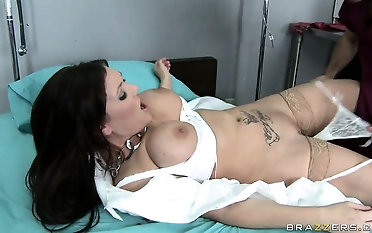 Dr. Dreamy Flower is comforted away from rub-down the hot gaffer brunette nurse