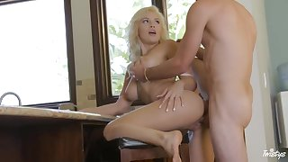 Blondie doll is toying with her nips while her beau is softly eating her cooch