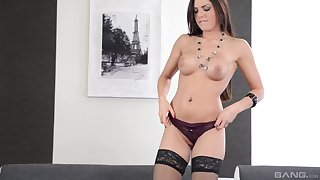 Cecilia De Lys rides cock in stockings and swallows a cumshot