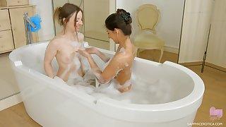 Angela Allison and Lilit Attractive in a lesbian bath sex instalment