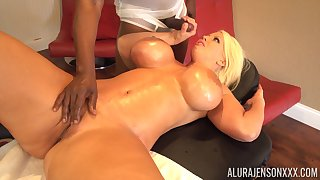 Busty MILF Alura Jenson bends over for a fat black cock and eats cum