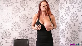 Jaw dropping red haired milf Faye Rampton shows stay away from her tasty looking cunt