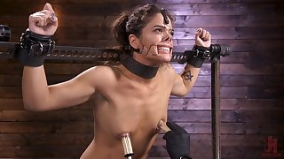 Painful BDSM bondage with Victoria Voxxx getting her feet abused
