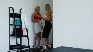 Alexis Fawx added to Brandi Love are wearing down each others tasty looking slits