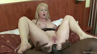 Circumference amateur mature blonde Monik arse fucked hard by a black guy
