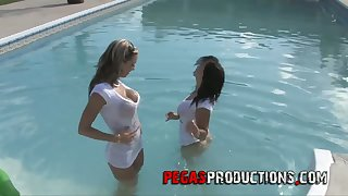 Unprincipled chick Stacy Shine takes part in crazy lesbian orgy by the poolside