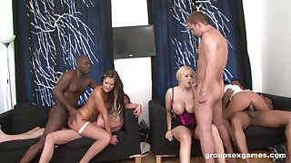 Interracial group sex fuck near Angel Wicky with the addition of her grown up friends