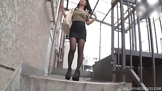 stairway is a perfect post for good masturbation with Suzuki Satomi