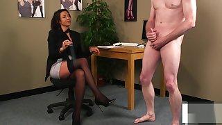 Classy office femdom humiliates submissive
