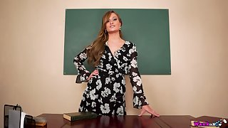 Sex teacher A torch for May gets naked and shows how to jerk off hard big cock