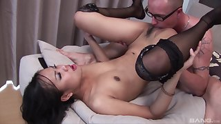 Asian with small tits, serious hard sex with a lacklustre dude