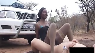 African Chick Gives Head Coupled with Rides Load of shit Outdoors