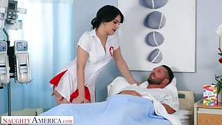 Appetizing big bottomed nurse Valentina Nappi rides her naughty patient on top