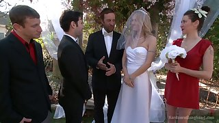 Blind folded bride Natasha Starr is fucked overwrought groom and team a few dudes