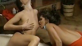 Lesbi orgasm on retro blear