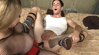 Adorable Aiden Starr uses a strapon to make the beast with two backs her horny friend