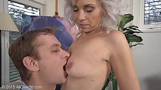 Flirtatious Greyhaired Milf Kathy Meets Young Lover