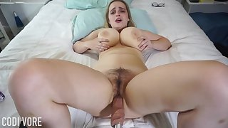 Huge-Boobed platinum-blonde girl, Codi Vore is crevice adjacent to her gams large open while using a fuckin' machine