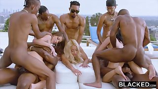 Teanna Trump, Adriana Chechik and Vicki Pursue are orgying not later than a vacation, with dark-hued men