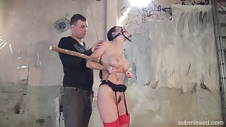 Slender brunette at hand yummy boobies Cindy Dollar is directed with and punished in the basement