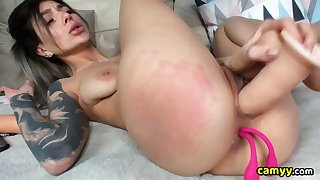 Sexy Tattoo Babe Pounds The brush Big Pussy