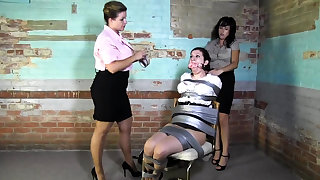 Lesbian BDSM Chained increased by Electro Tortured MILF Slave