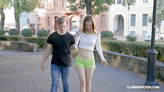 Petite pale Russian GF fucked in the hotel Babytalk do number two by her lover