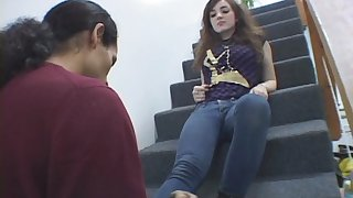 Foot charm man loves licking on stairs before some femdom action