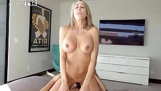 Plowing a big-titted platinum-blonde step- mom senses finer than milking lacking while seeing VR porno