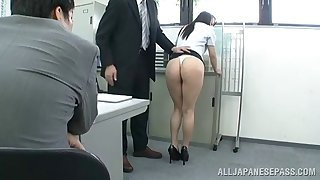 Designation slut gets on her knees and sucks off her boss