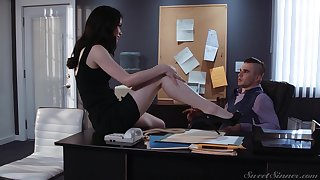 Sexy tall and quite leggy secretary Evelyn Claire is ready for rendezvous intercourse