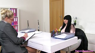 Fruity love making during a job interview with Barra with the addition of Lucy Li