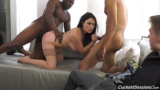 Black hunks enjoyment from a wife while her hubby sits and watches