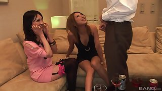 POV glaze of a uncalculated guy getting a double blowjob by Japanese babes