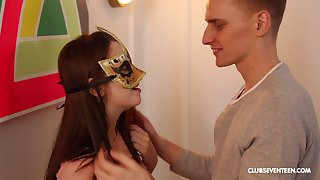 Boring fucking with masked girlfriend ends with jizz on will not hear of pussy