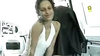 This whore is so kind and sweet to swell up her lover's dick in his car