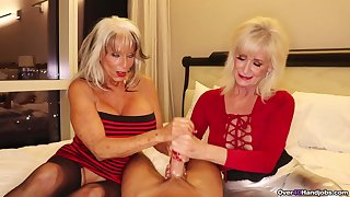 Adult sluts with fake tits pleasuring one casual mendicant together