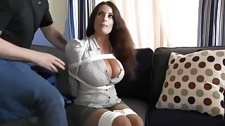 Buxomy housewife gets immensely crazy when she gets corded up coupled with left on the stupefy