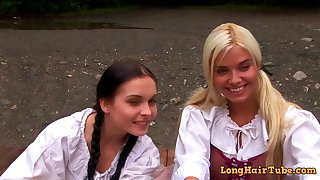 Naughty lesbians nigh hot costumed porn scene