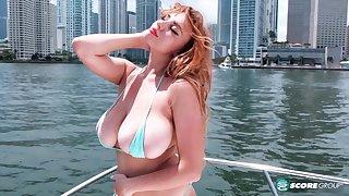 Beamy Boobed Girl In Boat  - Angela white