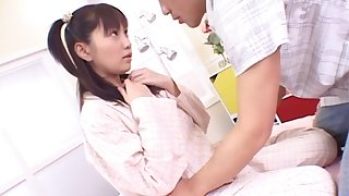 Uninhibited fucking on the bed with an lay Japanese spoil with pigtails