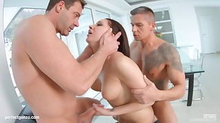 Felicia Kiss enjoys a full saddle with of hot jizz inside her