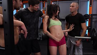 Several hot blooded jocks fuck naughty chick Verona Sky in the gym